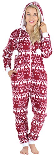 Frankie & Johnny Women's Hooded Fleece Non-Footed Onesie Loungewear Pajamas, Cranberry Winter, MED