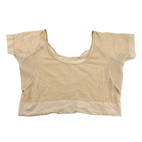 Sports Yoga Short Sleeve Vest Underarm Sweat Pads, Absorbent Shields Armpit Guards, Quick Drying, Skin Color