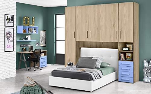 Habitación Puente con Cama Blanco Una Plaza y Media - Compuesto por una puerta larga, 4 puertas medias, pequeño compartimento de día y cajonera. 243 x 55 x 245 cm