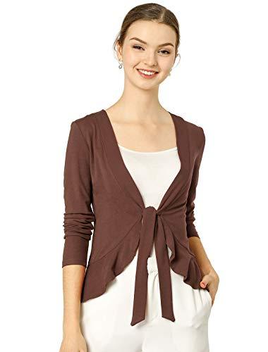 Allegra K Women's Tie Front Metallic Ruffled Long Sleeve Open Cardigan XL Brown New Mexico