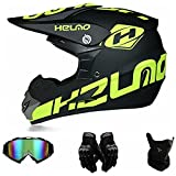 FANYI Kinder Cross Helm Fullface MTB Helm,Motorradhelm Fahrrad Enduro Downhill BMX Off Road ATV Motocross Helm Set mit Handschuhen Brille Maske (S)