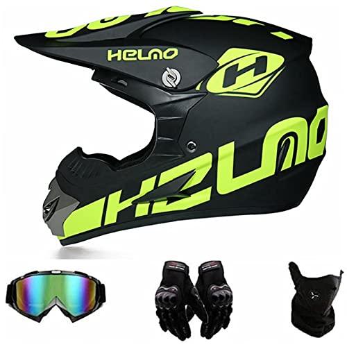 FANYI Adult Cross Helm Fullface MTB Helm,Motorradhelm Fahrrad Enduro Downhill BMX Off Road ATV Motocross Helm Set mit Handschuhen Brille Maske (M)