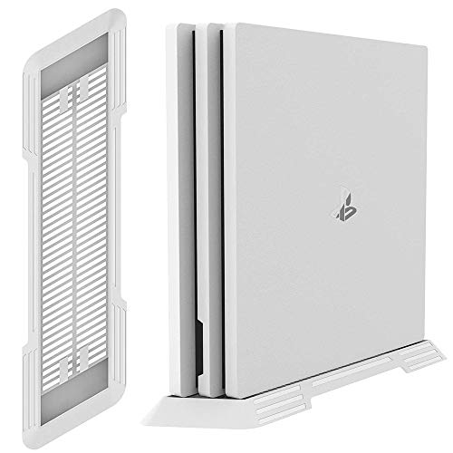 PS4 Pro Vertical Stand for Playstation 4 Pro with Built-in Cooling Vents and Non-slip Feet (White)