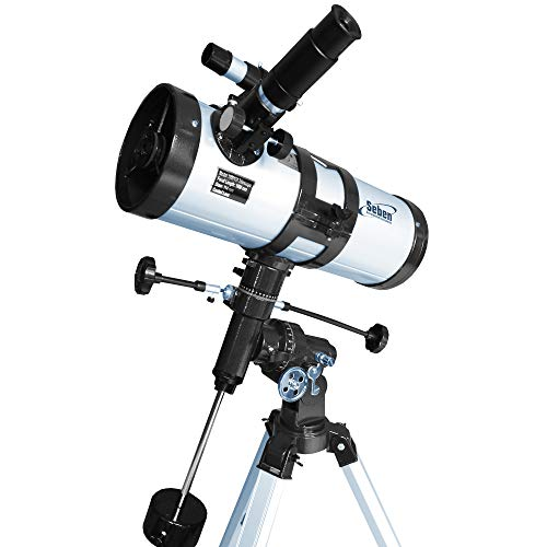 Seben 114/1000 EQ-3 Star Sheriff - telescopio Reflector para astronomía, Incluye una Montura paraláctica y Accesorios Big Pack.
