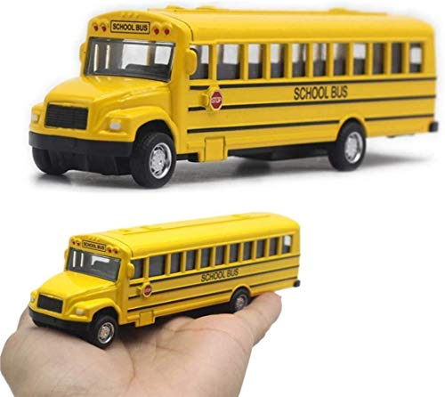 LHY Durable De Coches de Juguete de fundición a presión Escolar Amarillo Modelo autobús y jalar los neumáticos Traseros del Coche de Caucho Resistente Metal Niño Niña Robusto