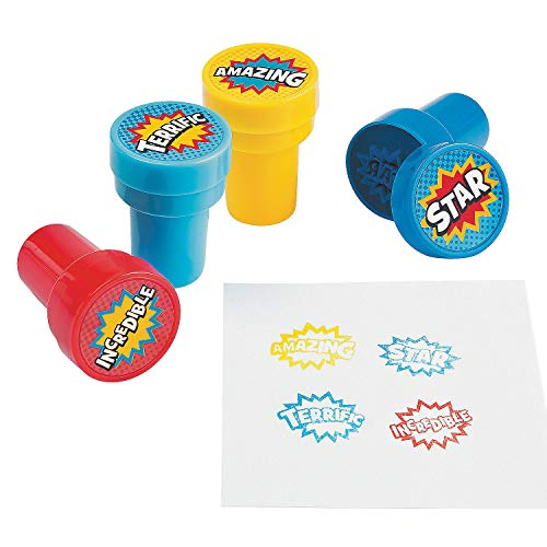 Fun Express Superhero Self Inking Stampers - 24 Pieces - Educational and Learning Activities for Kids