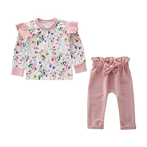 Kingko 2 pcs Enfant en Bas Âge Bébé Fille Vêtements Ensemble Floral Rose Top + Pantalon Tenues 3 6 9 12 24 Mois Bodys et Combinaisons Bébé Fille Garcon (70(3-6mois))