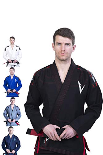 Kimono Vector Attila Series de Jiu Jitsu con cinturón blanco, ligero, 100% algodón, A0, Negro