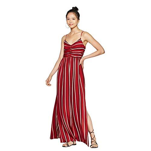 Xhilaration Striped Sleeveless V Neck Cinched Top Maxi Dress Chili Powder Small
