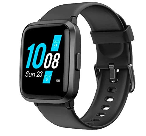 Smart Watch,Fitness Tracker Blood Pressure Monitor Blood Oxygen Meter Heart Rate Monitor Full Touch,Fitness Watch Compatible with Android & iOS for Men Women (Black)