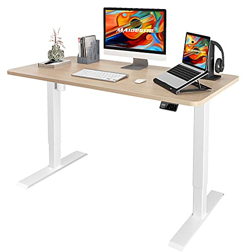 MAIDeSITe Adjustable Height Electric Standing Desk, Ergonomic Stand Up Desk for Home Office, Sit Stand Desk with 48 x 24 Inch Whole Piece Board, Quick Assembly Adjustable Table, White Frame/Oak Top
