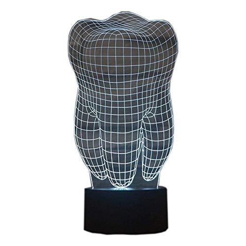 Ahat Romantische 3D Led Illusion Tisch Schreibtisch Deko Lampe 7 Farben ändern Nacht Licht für Schlafzimmer Home Decoration, Hochzeit, Geburtstag, Weihnachten und Valentine Geschenk(Zahn)