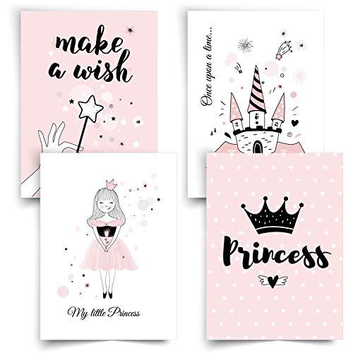 Donari® Bilder Kinderzimmer Mädchen DIN A4 • Poster Kinder Prinzessin und Einhorn • Dekoration Mädchenzimmer Rosa Wandposter Set • Deko Teenager Mädchen Zimmer (Set 3)