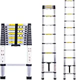 Multibao Telescopic Loft Ladder 3.2m/10.5ft Aluminum Lightweight Portable Extendable Extension Step Attic Ladder for Multipurpose, 150kg Capacity 11 Steps