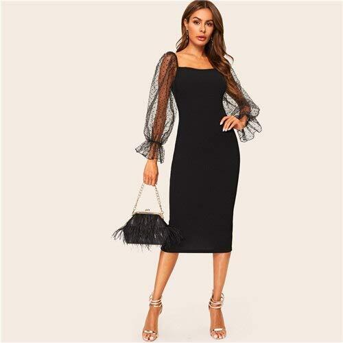 GMZA Black Dot Mesh Volant lantaarn mouwen Bodycon potloodjurk vrouwen elegante solide spring herfst party lange jurken