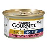 Purina Gourmet Gold Húmedo Gato Mousse con Trucha y deliciosos Tomates, 24 latas de 85 g Cada uno, 24 Unidades de 85 g