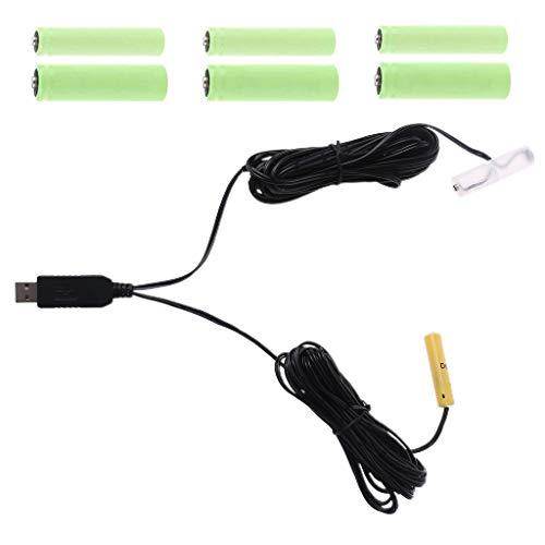 YUYAN 2 en 1 6 V LR6 4 AA LR03 4 AAA batería eliminador USB cable de alimentación reemplazar 4 unids 1.5 V AA AAA batería para juguetes lámpara LED