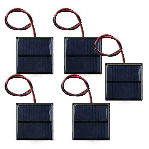 SALUTUYA 30CM Red Black Line DC5.5V 80mA 5Pcs Mini 5.5V Placa de Suministro Solar, para teléfono Inteligente, Camping, para automóvil