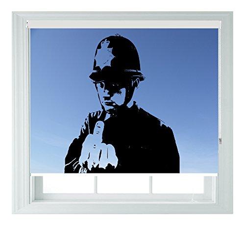 Banksy, Blau, mit verschiedenen Größen, Vinyl, Schwarz, Schlafzimmer, Rollo Jalousie für Badezimmer, Küche und Wohnwagen AOA®, 60 cm