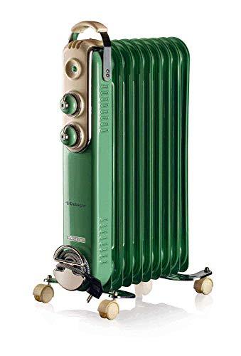 Ariete 838 - Radiador de aceite vintage, 9 elementos calefactores, 3 niveles de potencia, asa para fácil transporte, máx. 2000 W, verde
