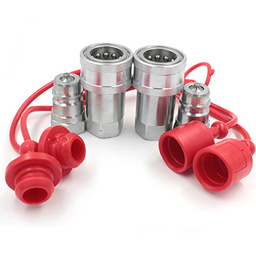 2 Sets of 1 2  NPT Hydraulic Quick Connect Couplings Ball Fitting Female and Male with Dust Caps Compatible Parker 6600 Series