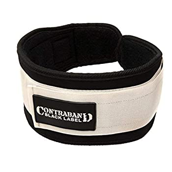 Contraband Black Label 4040 5in Foam Padded Weight Lifting Belt w/Hook & Loop - Perfect Heavy Duty Back Support for Weightlifting Bodybuilding Powerlifting - Men & Women  White XXX-Large