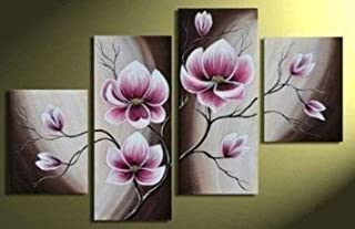 Wieco Art Beautiful Purple Flowers Oil Paintings on Canvas Wall Art for Bedroom Home Decorations Modern 100% Hand Painted 4 Panels Contemporary Stretched and Framed Abstract Floral Artwork