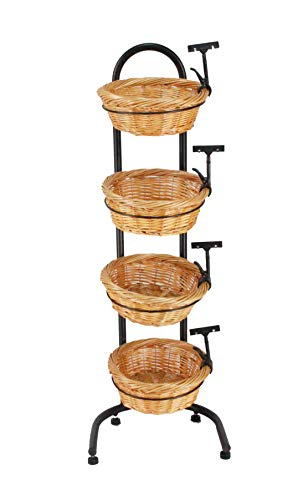 4 Tier Basket Stand, Sign Clips, Wicker Grocery Store Rack Display 15603