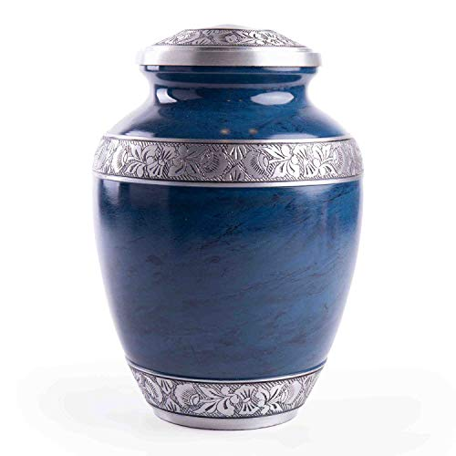 GSM Brands Cremation Urn for Adult Human Ashes - Large Handcrafted Funeral Memorial with Striking Blue Design (Aluminum - 10 Inch Height x 7 Inch Width)