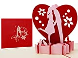 LIMAH® Pop Up Valentinskarte Geburtstagskarte Hochzeitskarte 3D Liebes-Grußkarte mit einem Paar und Herz Motiv zum Hochzeitstag Hochzeit Jahrestag für Sie und Ihn