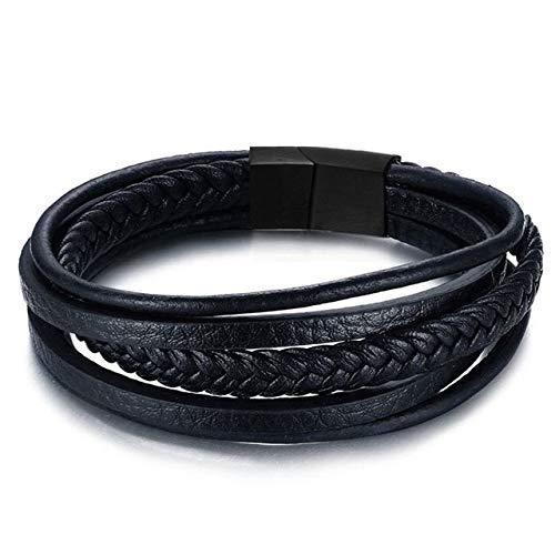 NJIANGHUA Lederarmband Für Herren Herren Leder Armbänder Herren Schmuck Handgemachte Vintage Edelstahl Magnetverschluss Geschenk Pulseras Armband