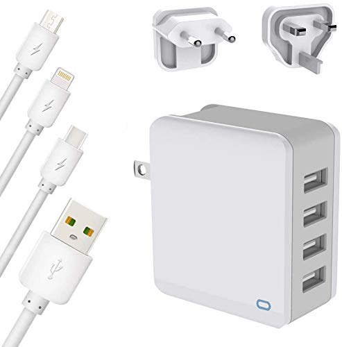 Cargador USB de 4 puertos de 24 W, 5 V, 2,4 A, con enchufe US/UK/EU, compatible con iPhone XS/XR/XS Max/8/8 Plus, Galaxy S9/S8/Note 8, Huawei P20, Tablet y más