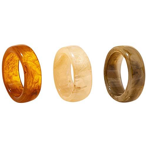 Anillo de resina transparente de moda vintage de 3 piezas conjunto de anillos redondos gruesos