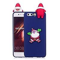 ケース Huawei P10、薄型 かわいい 3D 漫画 クリスマス 新しい ユニコーン ケース、シリコン ソフトフレーム tpu カバー、ユニーク 人気 耐衝撃 弾性 軽量 薄型 衝撃吸収 全面保護カバー, 面白いユニークなラッキーギフト、子供、女の子、婦人のための,by Beautycatcher - 紺色+サンタクロース