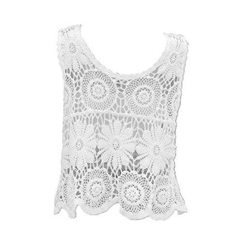 KESYOO 1Pc Bestickte Netzweste Baumwollfaden Bequeme Atmungsaktive Mode Dünne Netzweste Hohlweste für Mädchen Frauen