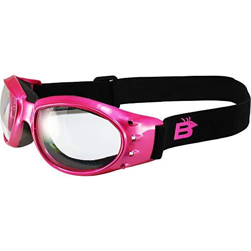Birdz Eyewear Eagle acolchado anti niebla mujeres motocicleta gafas rosa marco claro lente