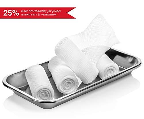 Elastic Stretch Gauze Rolls (6-Pack) - [ 2X Longer ] - Size: 4 inch x 8 Yards 4 Gauze Rolls