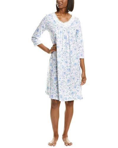 Carole Hochman Soft Jersey 3/4 Sleeve Waltz Gown White/Blue Floral XL