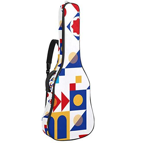 Bolsa de guitarra reforzada con esponja gruesa demasiado acolchada, funda para guitarra, cuna para el cuello,Guitarra clásica acústica, geometría abstracta azul