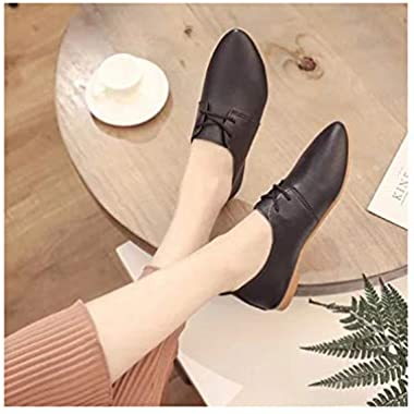 kylebetter2 Wild Lace Up Women's Shoes Comfortable Shallow Mouth Retro College Wind British Wind Flat Shoes,Black,9