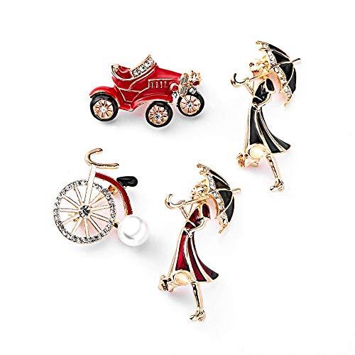 QFERW Spilla Cristallo Auto Ragazze Spilla Bicicletta es per Le Donne Carino Creativo Stile Cartone SpillaPin Gioielli Moda t-Shirt Pin, Bicicletta