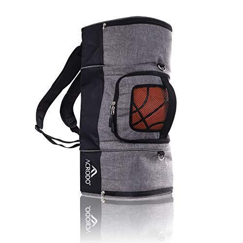 Basketball Backpack with Ball Holder, Shoe Compartment, Lunch Cooler - Sports Duffel Bag Gym Tote for Girls, Boys, Men, Women