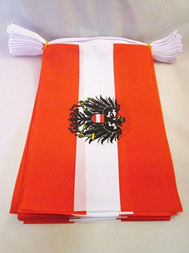 AZ FLAG Guirnalda 6 Metros 20 Banderas de Austria con Aguila 21x15cm - Bandera AUSTRÍACA con Armas 15 x 21 cm - BANDERINES: Amazon.es: Jardín