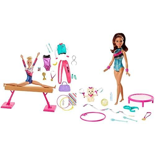 Barbie Olimpíadas, Muñeca Gimnasta, Barra De Equilibrios De Juguete Y Más De 15 Accesorios (Mattel Gjm72)+ Teresa Gimnasta Muñeca con Accesorios (Mattel Ghk24)