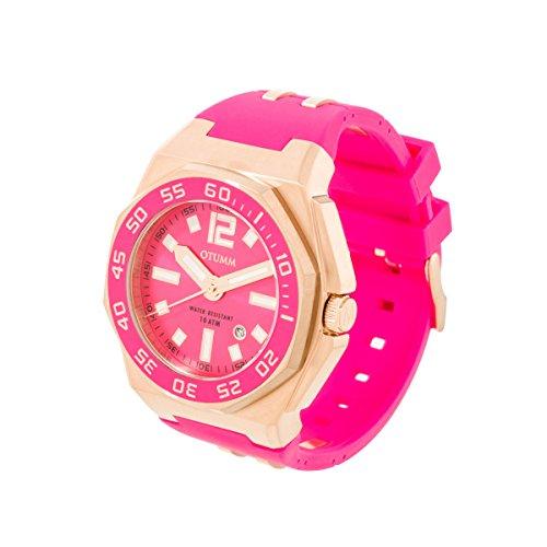 OTUMM Damen-Armbanduhr Sports Calendar 45 mm, roségold/pink Analog Quarz Kautschuk 02185