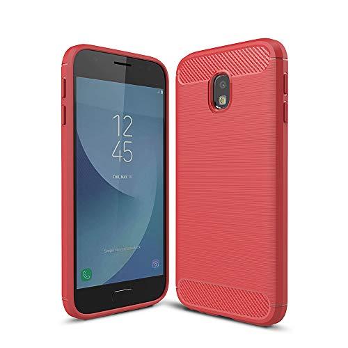 WANGZHEXIA Estuches para teléfono para Galaxy para Galaxy J330 / J3 Pro Funda de protección de Armadura Resistente TPU a Prueba de Golpes de Fibra de Carbono cepillada