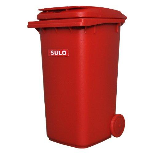 Mini-Mülltonne original SULO große Ausführung 240 Liter ROT Miniatur Behälter Aufbewahrung Tischmülleimer Stiftehalter Büro Spielzeug Sammlerstück