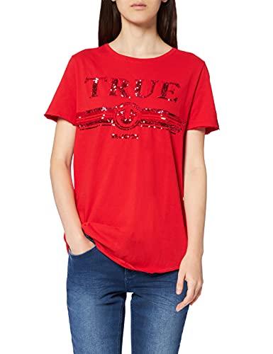True Religion Crew Tshirt Sequin T-Shirt, Rosso (Red 1763), 40 (Taglia Produttore: X-Small) Donna