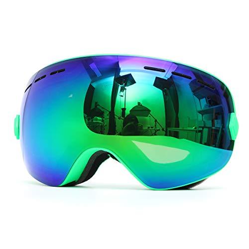 Gemitto Unisex Professionele dubbele sneeuwbril, anti-condens, UV-bestendig, voor heren en dames, groene lens frame