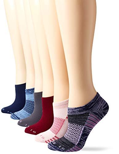 Amazon Brand - Core 10 Women's 6-Pack Performance Sport Athletic No Show Socks, Navy/Lavender/Wine, Shoe Size: 4-10
